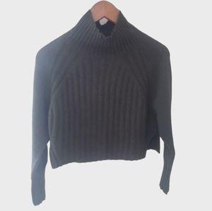 New Topshop Crop Mock Neck Sweater XS 0 2 Green Wo